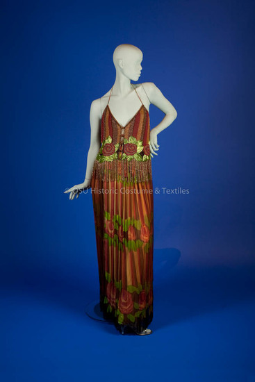 Galanos, James; silk red, yellow, green & brown top and hand painted skirt
