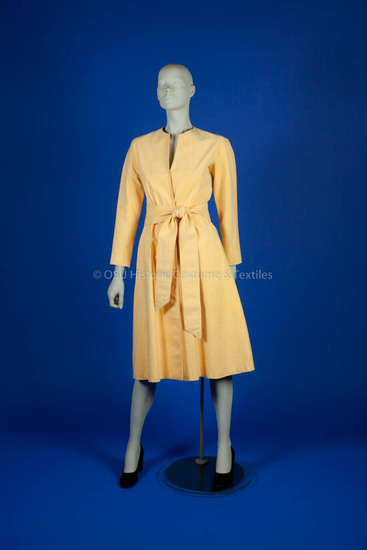 Halston, Roy; yellow ultra suede wrap dress with matching belt