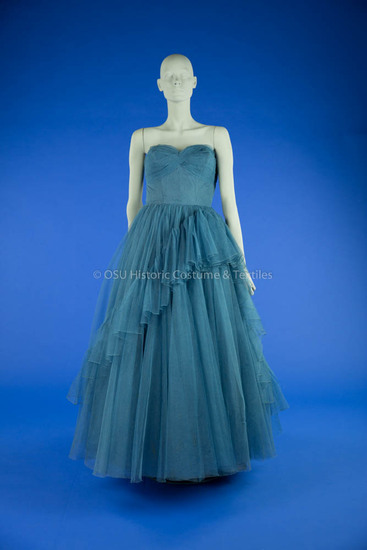 1950s Blue Net Evening Gown