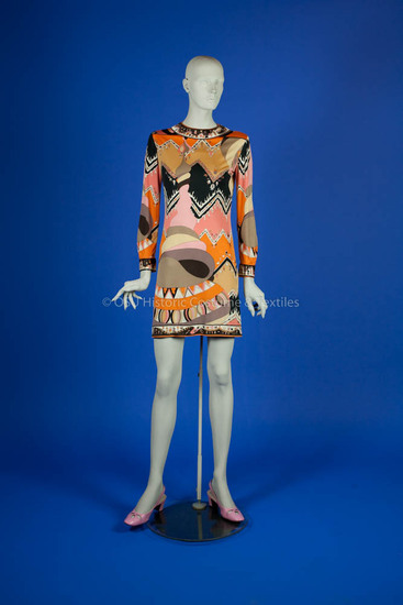 Pucci, Emilio; silk jersey knit orange/brown/pink abstract design dress