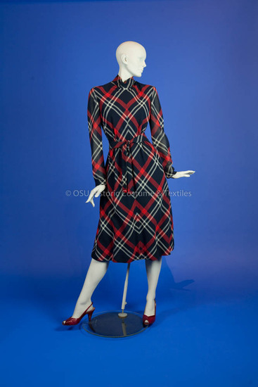 Trigère, Pauline; red/white/blue wool plaid dress