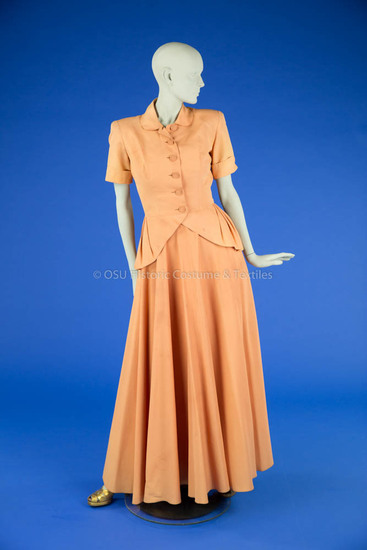 1940s Peach Evening Gown and Jacket