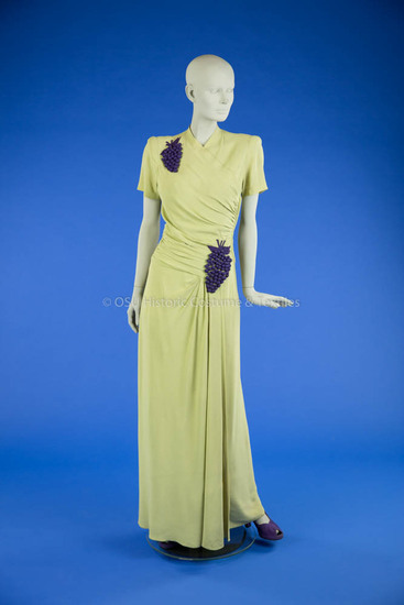 1940s Light Green Long Dress with Grape Motif