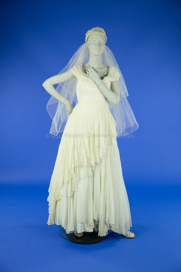 1950s White Lace and Chiffon Wedding Dress