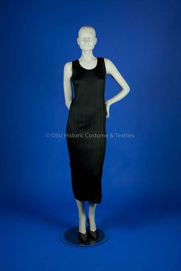 Miyake, Issey; Black polyester heat set pleated dress