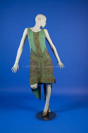 1920's green silk dress with gold beading and sequins