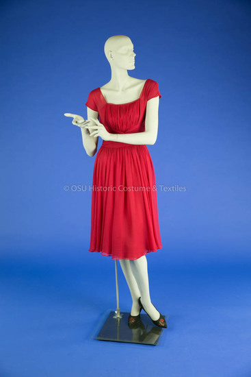 1955-59 Red Chiffon Dress