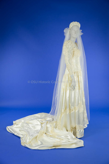 1943 White Satin and Lace Wedding Dress