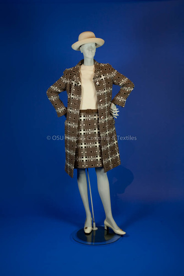 Beene, Geoffrey; brown and white checkered pattern wool dress and coat