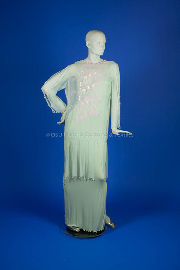 Rhodes, Zandra, light green silk jersey long dress