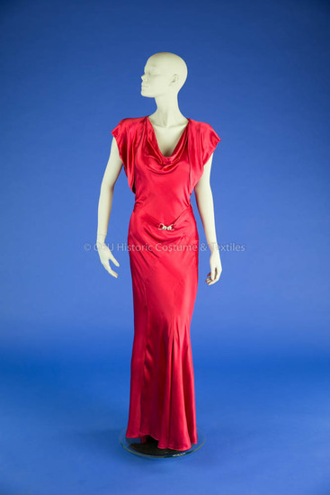 1930s Red Silk Bias Gown