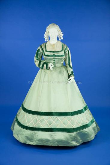 1863-1869 Aqua Silk Gown