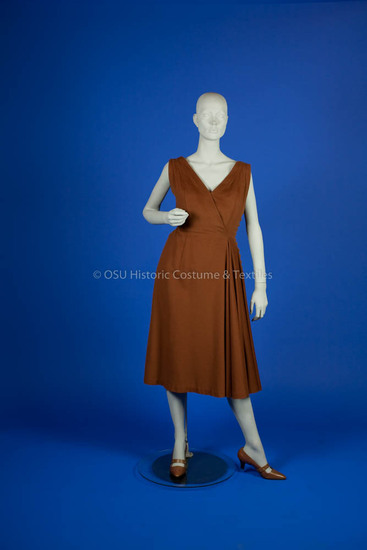 Trigère, Pauline; rust wool sleeveless dress
