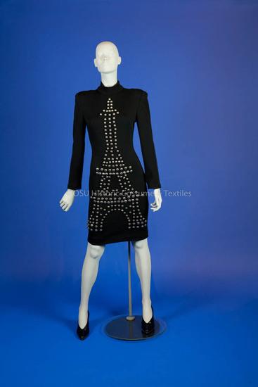 Kelly, Patrick; 1989, black wool knit Eiffel Tower design dress