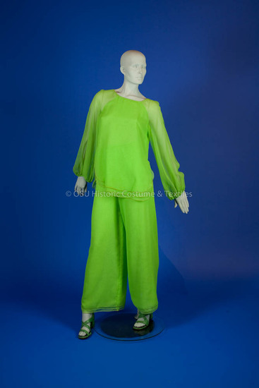 Burrows, Stephen; lime green polyester georgette top and pants