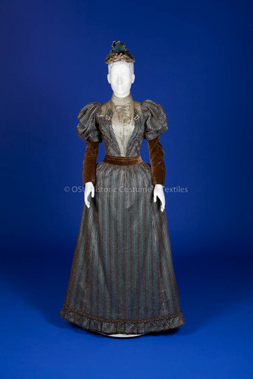 1893 Blue Satin and Brown Velvet Dress