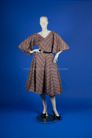 McCardell, Claire; 1948, gray cotton dress with red, pink & maroon diagonal stripes