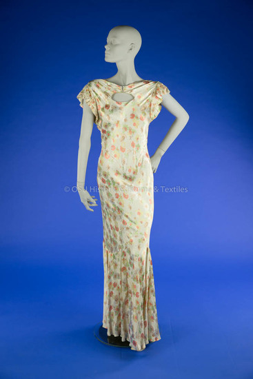 1930's Floral Satin Bias Dress