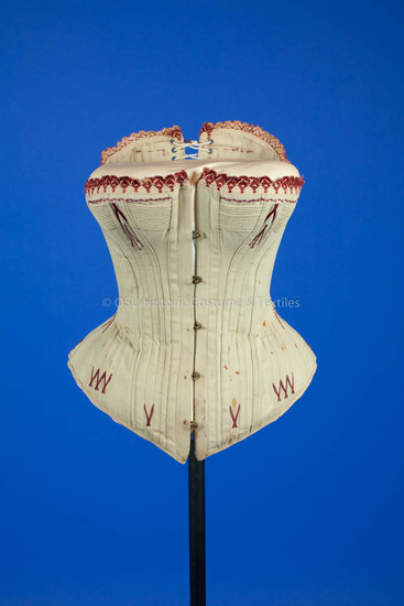 1880's Grey Cotton Corset with Red Embroidery