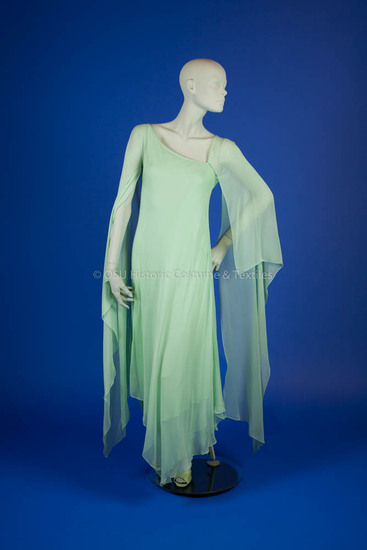Halston, Roy; green silk chiffon layer dress