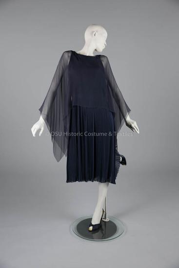 1975 Dior Navy Chiffon Dress<br /><br /> <br /><br />