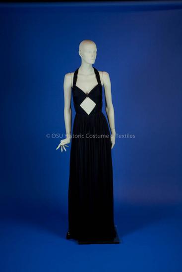 Grès, Madame; navy silk long jersey dress