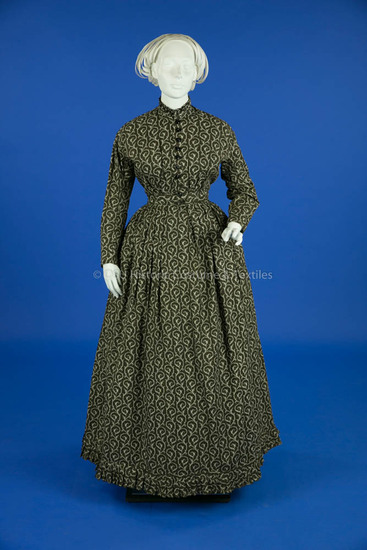 1865-1875, Brown Cotton Print Dress