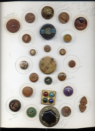 Buttons, leather and skins
