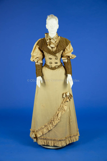1893 Tan Silk Wedding Dress