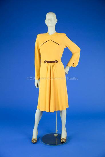 1940s Yellow Crepe Dress