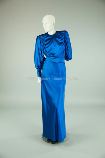 Galanos, James 1986; electric blue silk and wool dress and belt
