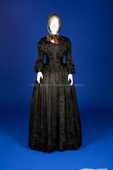 1840s Brown Silk Dress