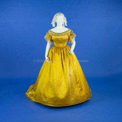 1867 Gold Satin Ball Gown