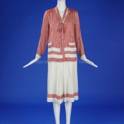 1920's Red/White Cotton Skirt and Blouse