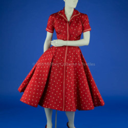 1950s Red Silk Dress with Circle Skirt