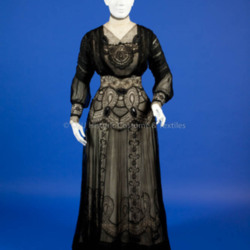 1900's Black Silk Chiffon and Lace Gown