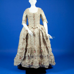 1770's Off white silk figured weave gown