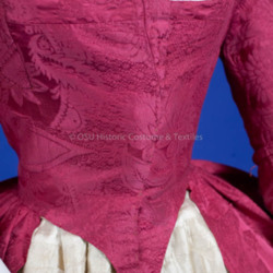 1988.318.130 & 1987.318.10 - Pink Silk Dress & Ivory Silk Quilted Petticoat 1770-1780 - Detail Front C.jpg