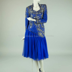1980s Blue Beaded Chiffon Dress