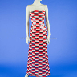 Scaasi Red/White/Blue Sequin Gown