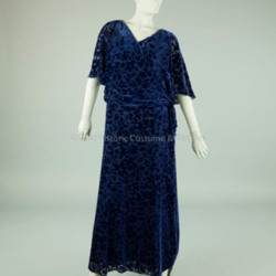 1930s Dark Blue Voided Velvet Dress