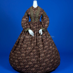 1855-65, Brown Wool Dress