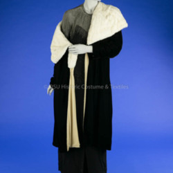 1925-1935 Black Velvet Wrap Coat
