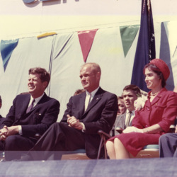 President John F. Kennedy sits with John and Annie Glenn