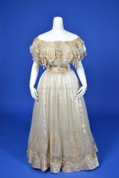 1900's Ivory Silk Chiffon Evening Gown