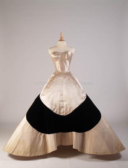 James, Charles; 1953, White silk and black cloverleaf gown