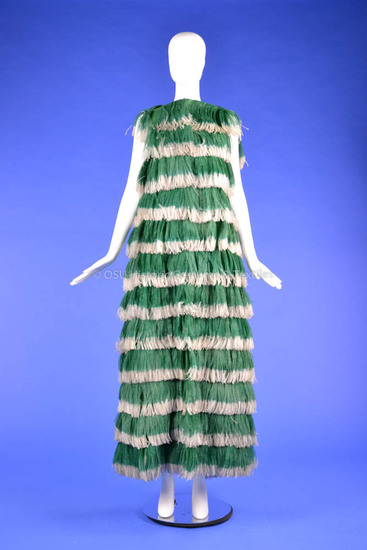 Green and White Feather Givenchy Ensemble