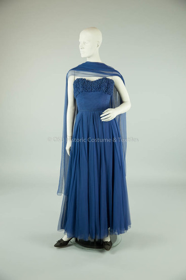 1950s Blue Chiffon Strapless Gown