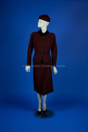 Valentina; red/black striped wool dress and jacket