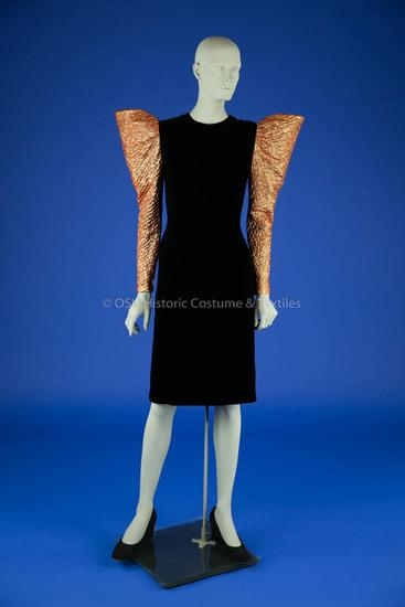 Blass, Bill; black silk velvet sheath dress with copper lamé sleeves